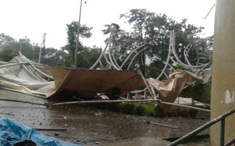 The roof and metal supports of the iconic D.Y. Patil cricket stadium in Navi Mumbai were badly damaged by rain.