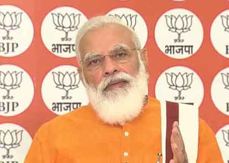 New Delhi: Prime Minister Narendra Modi addresses a programme organised by the BJP to commemorate Bharatiya Jana Sangh chief Deendayal Upadhyaya's birth anniversary, via video conferencing in New Delhi on Sep 25, 2020. (Photo: IANS)