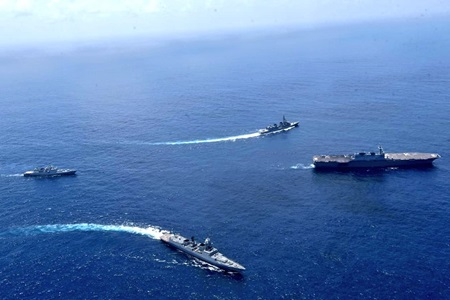 New Delhi: Indian Navy and Japan Maritime Self-Defense Force ships undertook weapon drills, seamanship evolutions & advanced exercises on the second day of India-Japan Naval exercise JIMEX - 2020, in North Arabian Sea, on Sep 28, 2020. (Photo: IANS)