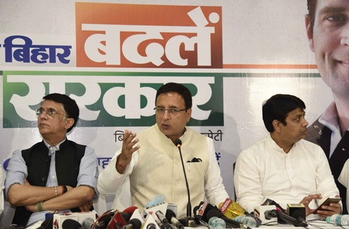Patna: Congress General Secretary Randeep Singh Surjewala addresses a press conference ahead of Bihar Assembly elections, in Patna on Oct 22, 2020. (Photo: IANS)