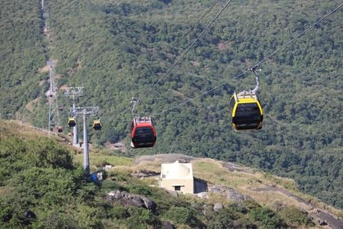 Junagadh: The Girnar ropeway project in Junagadh that was inaugurated by Prime Minister Narendra Modi via video conferencing from New Delhi on Oct 24, 2020. While the Prime Minister inaugurated the ropeway from New Delhi, Chief Minister Shri Vijay Rupani, Deputy Chief Minister Shri Nitin Patel, senior ministers, and Usha Breco chairman Prashant Jhawar were present in Girnar to mark the occasion. The 2.3 km Girnar ropeway, the longest to a temple in the world, has been developed by Usha Breco Limited at an investment of Rs. 130 crore. (Photo: IANS)