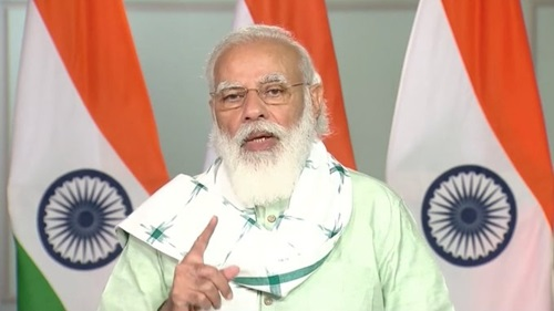 New Delhi: Prime Minister Narendra Modi addresses after virtually inaugurating the Girnar ropeway project in Rajasthan's Junagadh, from New Delhi on Oct 24, 2020. (Photo: IANS)
