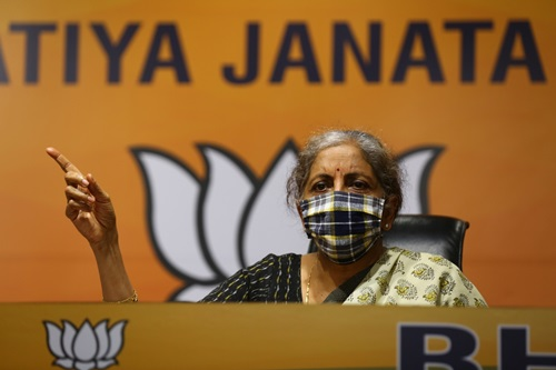 New Delhi: Union Minister and BJP leader Nirmala Sitharaman addresses a press conference at the party's headquarters, in New Delhi on Oct 24, 2020. (Photo: IANS)