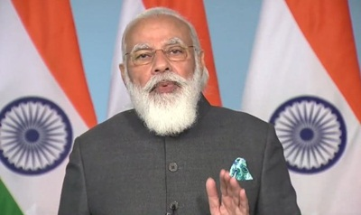New Delhi: Prime Minister Narendra Modi addresses at the inauguration of multi-storeyed flats for MPs in New Delhi via video conferencing on Nov 23, 2020. (Photo: IANS)