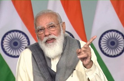 New Delhi: Prime Minister Narendra Modi gives his closing remarks after chairing a meeting to take stock of the Covid-19 situation in the eight worst-hit states in his first leg of PM-CM meeting via video conferencing, in New Delhi on Nov 24, 2020. Maharashtra, Kerala, Delhi, West Bengal, Rajasthan, Chhattisgarh, Haryana and Gujarat are the 8 states that are plagued with rising Covid cases as India intensifies its fight against the pandemic. (Photo: IANS)