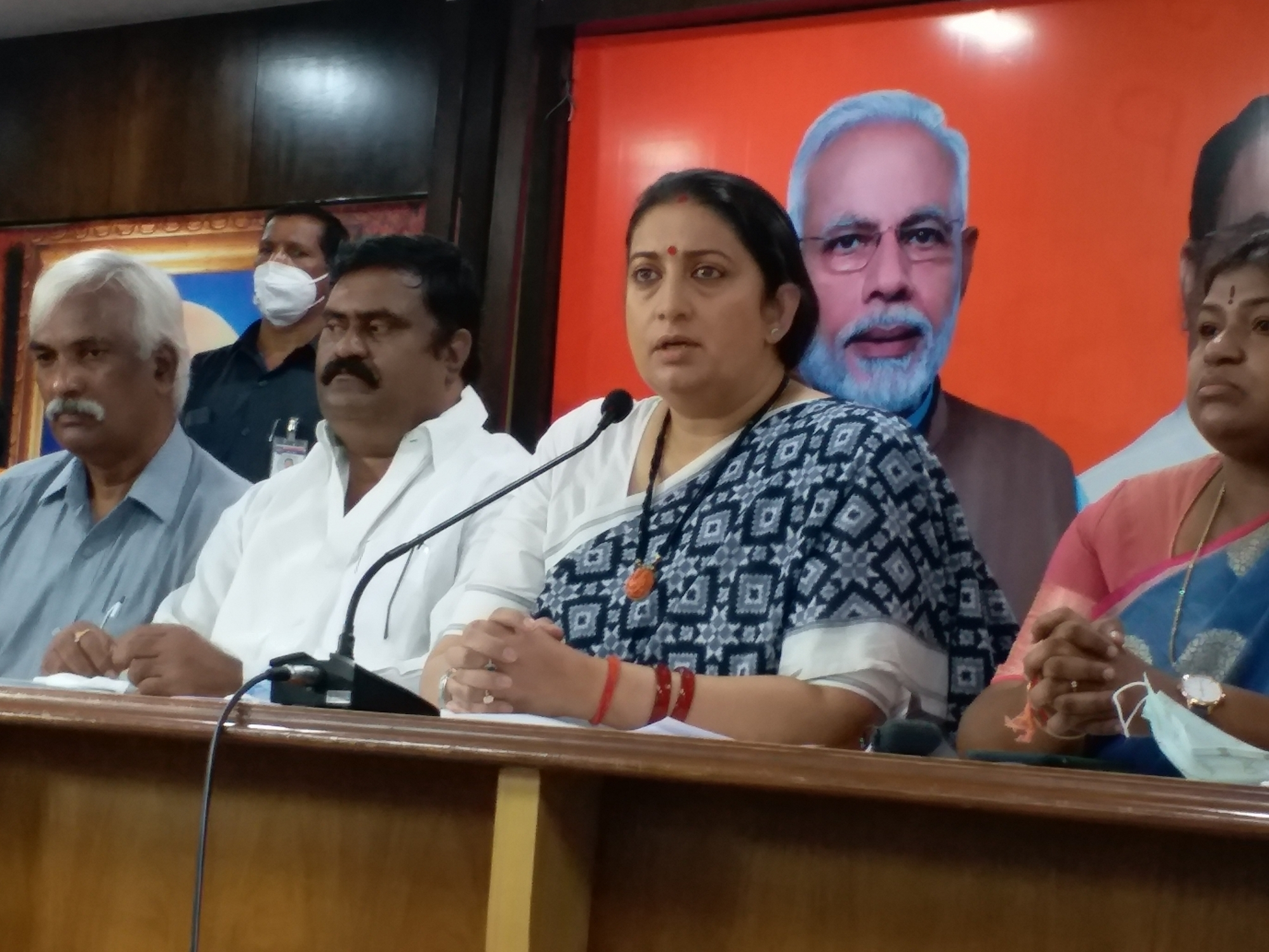 Hyderabad: Union Minister and BJP leader Smriti Irani addresses a press conference in Hyderabad on Nov 25, 2020. Union minister of Textiles Smriti Irani on Wednesday alleged that the 'unholy' alliance of the TRS-MIM is enlisting illegal immigrants in Hyderabad as voters for their political gains. The Minister is in the city to campaign for the BJP in Greater Hyderabad Municipal Corporation (GHMC) elections. (Photo: IANS)
